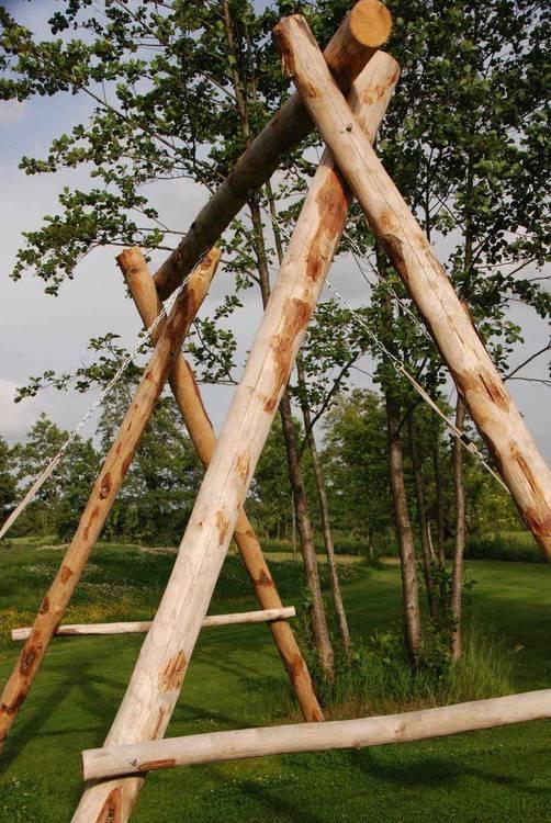 Kastanienpfähle / Kastanienpfosten / Kastanienholz für Schaukel - Holzschaukel